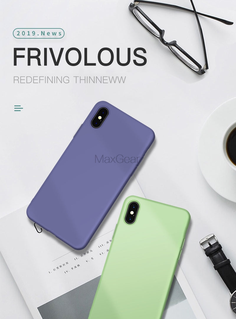 Thin Soft Case For iPhone 7 8 6 6s Plus 5S 4 Original Liquid Silicone Cover Candy Color Coque Capa For iPhone X Xs 11 Pro Max XR - Coeexus