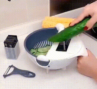 Magic Multifunctional Rotate Vegetable Cutter With Drain Basket Kitchen Veggie Fruit Shredder Grater Slicer - Coeexus
