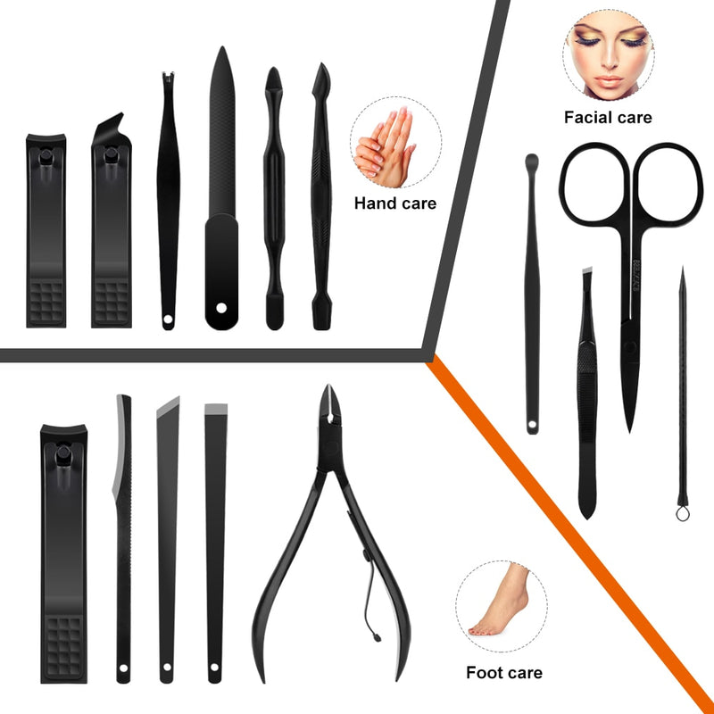 15 Pcs Professional Stainless Steel Nail Clipper for Manicure Pedicure Grooming Toe Nail Cuticle Trimmer Nipper Travel Case Tool - Coeexus