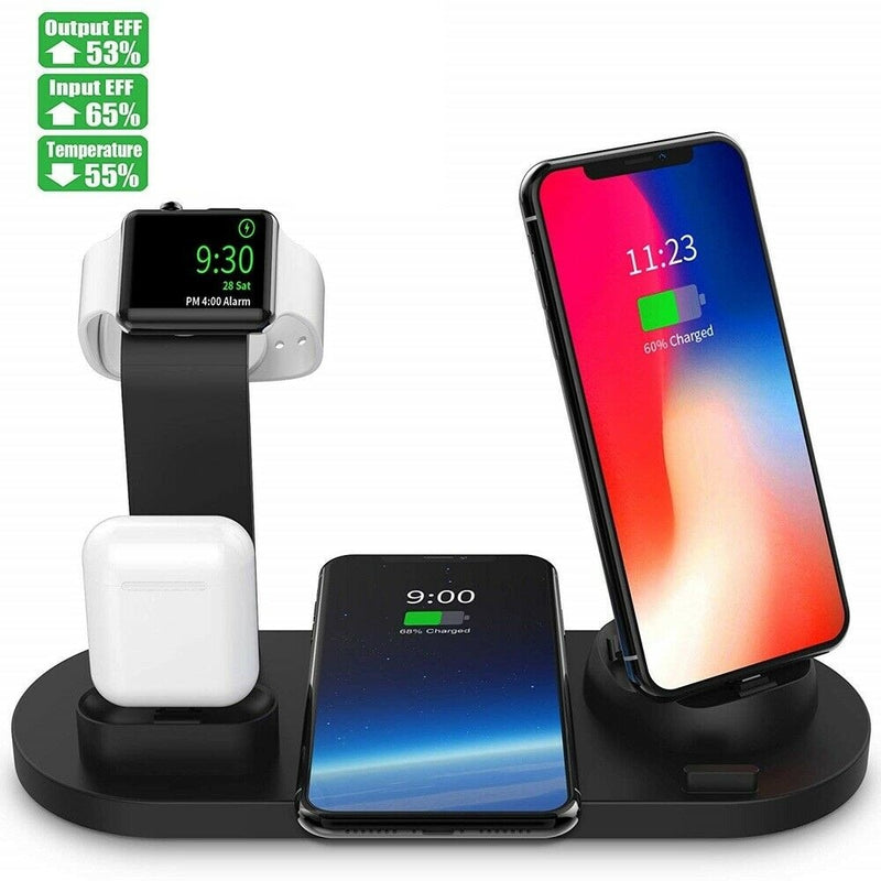 10W Qi Wireless Charger Dock Station 4 in 1 For Iphone Airpods Micro USB Type C Stand Fast Charging 3.0 For Apple Watch Charger - Coeexus