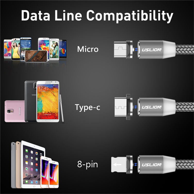 USLION 2M Fast Charging Magnetic Cable Micro USB Type C Charger For iPhone XS X 8 7 Samsung S10 9 Magnet Android Phone Cable 3M - Coeexus