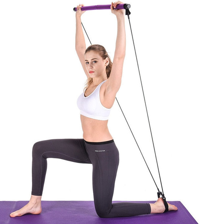Yoga Pull Rods Portable Home Yoga Gym Body Abdominal Resistance Bands for Pilates Exercise Stick Toning Bar Fitness Rope Puller - Coeexus