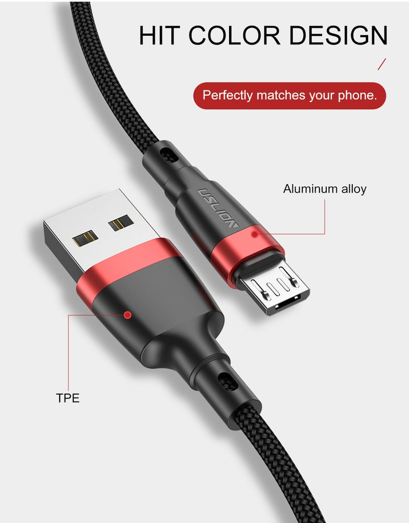 Micro USB Cable 3A Fast Charging USB Data Cable Cord for Samsung Xiaomi Redmi Note 4 5 Android Microusb Fast Charge 3M 2M - Coeexus