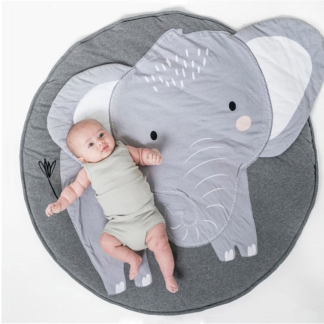 Cartoon Animals Baby Play Mat Foldable Kids Crawling Blanket Pad Round Carpet Rug Toys Cotton Children Room Decor Photo Props - Coeexus