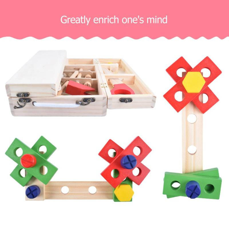 Kids Baby Wood Multifunctional Tool Set Toys Funny Educational DIY Maintenance Box Pretend Toys for Children Birthday Xmas Gift - Coeexus