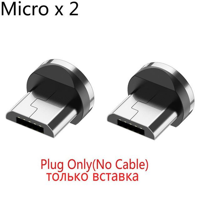 Round Magnetic Cable plug Type C Micro USB C Plugs Fast Charging Phone Microusb Type-C Magnet Charger Plug For Samsung S9 S10 - Coeexus