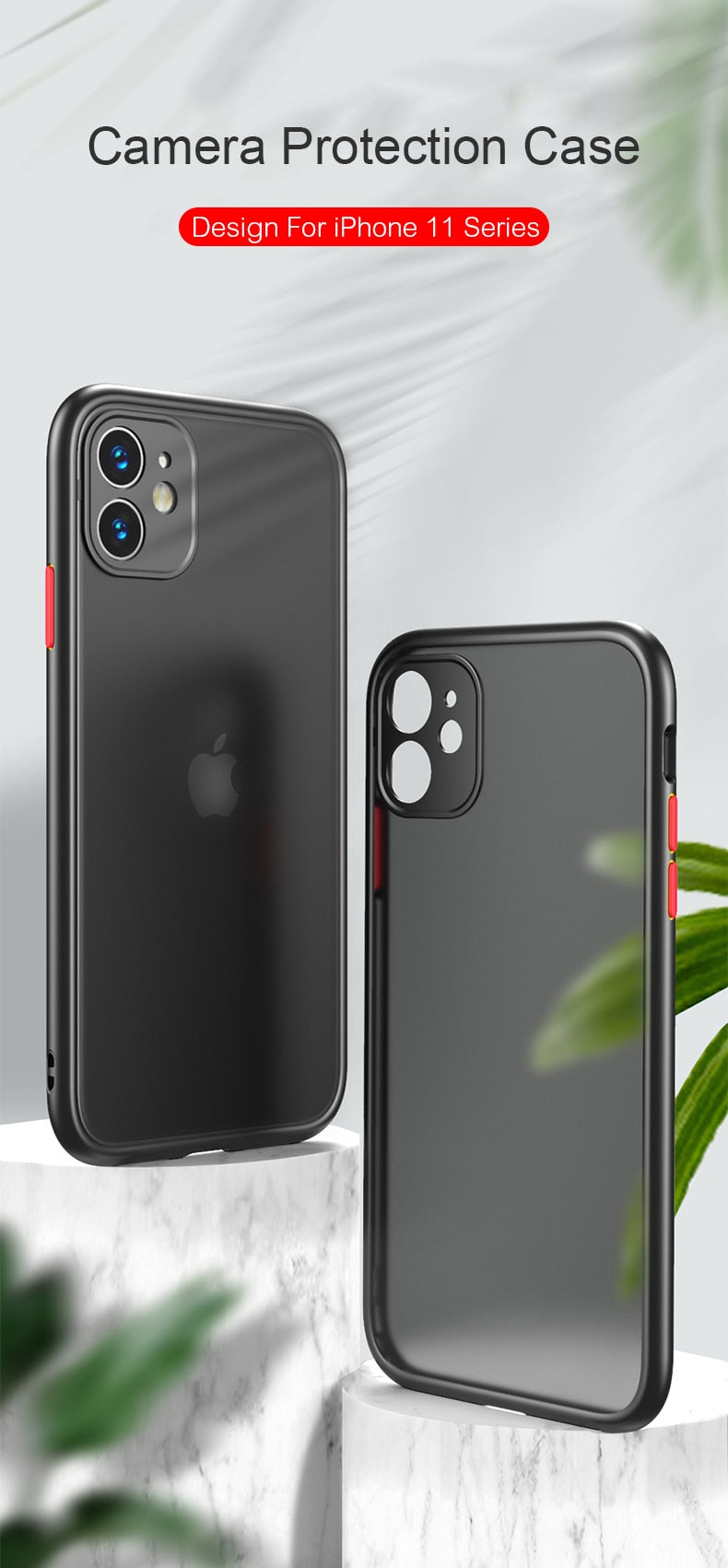 Phone Case For iPhone 11 Pro Max X XR XS Max 7 8 Plus Luxury Contrast Color Frame Matte Hard PC Protective For iPhone 11 Case - Coeexus