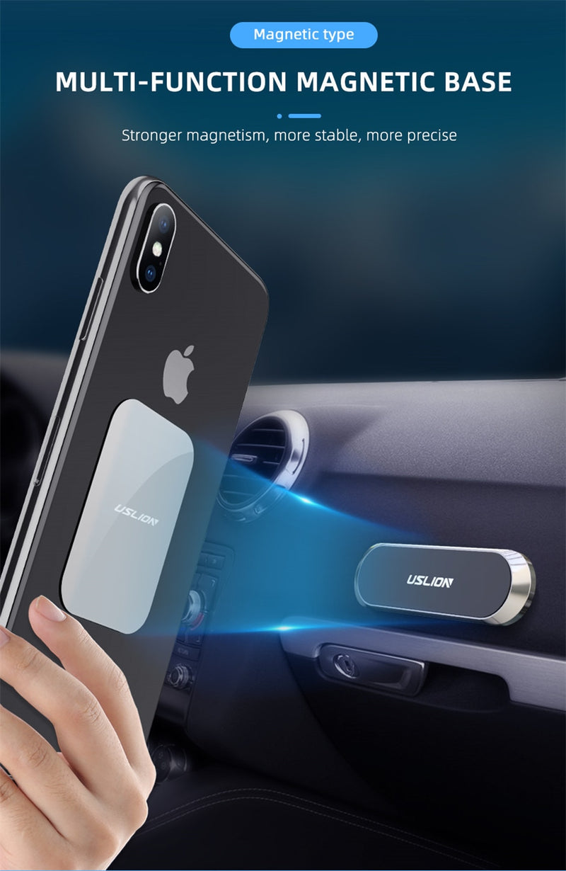 Mini Strip Magnetic Car Phone Paste Holder Stand For iPhone Samsung Xiaomi Wall Zinc Alloy Magnet GPS Car Mount Dashboard - Coeexus