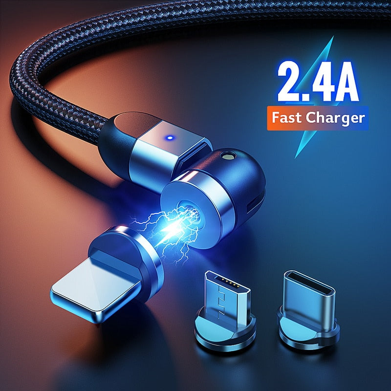 180+360 Rotate Magnetic Phone Cable Micro USB Type C Charger For iPhone 11 X 8 Pro XS Max Samsung Xiaomi Magnet Charging Cord - Coeexus