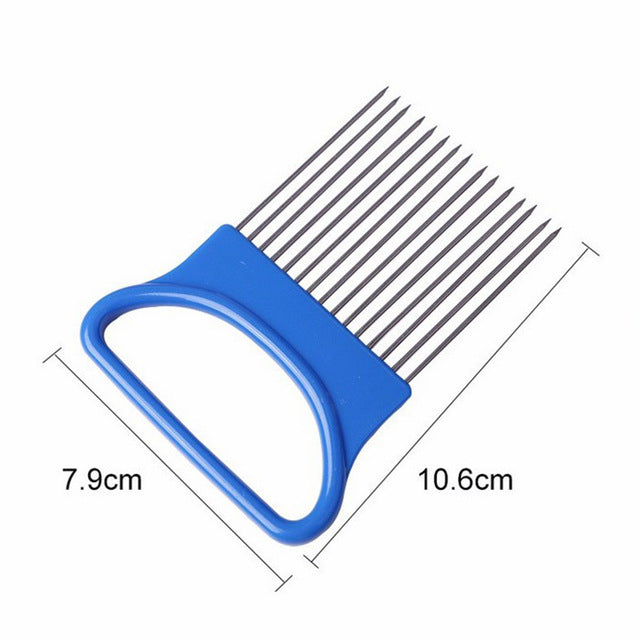 Stainless Steel Onion Cutter Onion Fork Fruit Vegetables Cutter Slicer Tomato Cutter Knife Cutting Safe Aid Holder Kitchen Tools - Coeexus