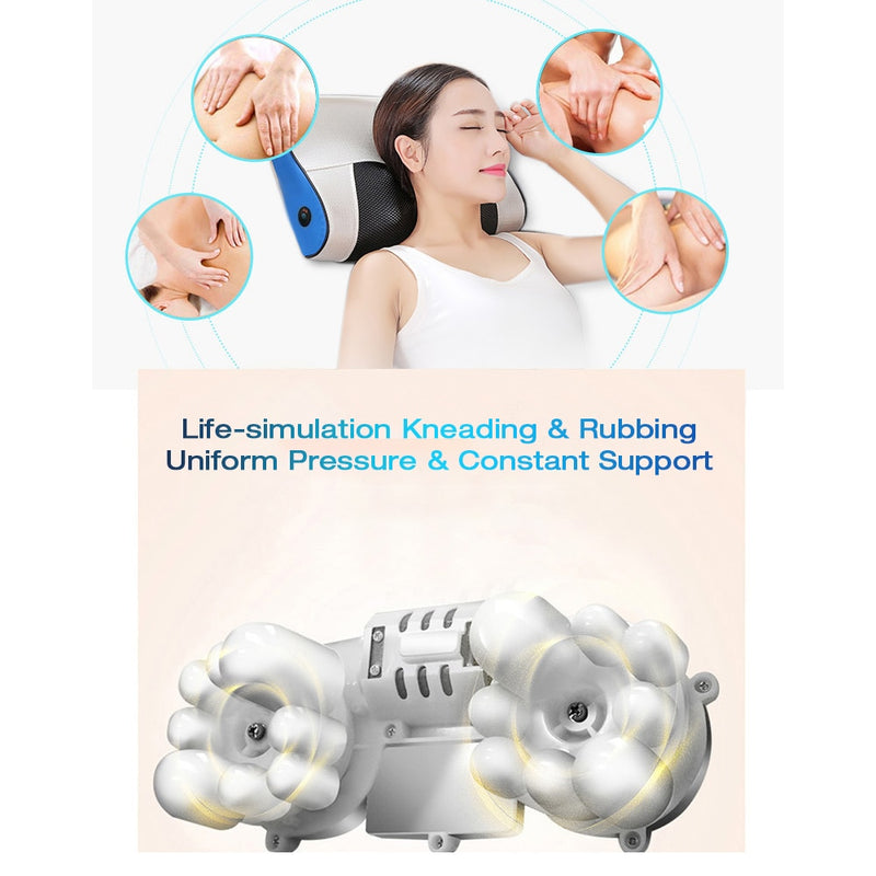 Electric Heating Massage Pillow 1 Massage Bottom Kneading Relaxation Trigger Point Therapy Cervical Relief Sore Muscles Relaxer - Coeexus