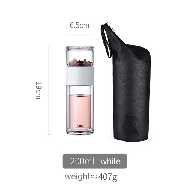 Tea Water Bottle Travel Drinkware Portable Double Wall Glass Tea Infuser Tumbler Stainless Steel Filters The Tea Filter - Coeexus