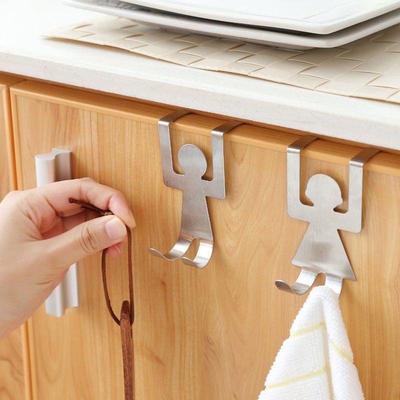 2Pcs Kitchen Stainless Steel Cartoon Humanoid Lovers Shaped Door Back Hook Storage Hanging Holder Storage Rack Accessories
