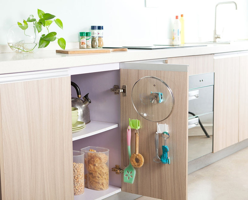 Wall-mounted Plastic Kitchen Lid Rack Cover Shell Suction Cup Tool Holder Storage Rack Multicolor Portable Home Organization