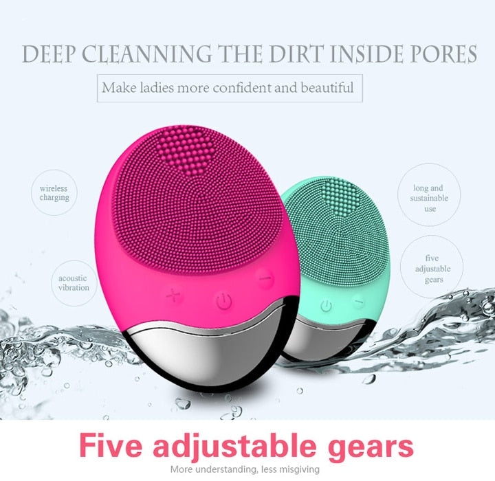 USB Base Charge Deep Cleaning Face Electric Face Cleanser remove Make-up Residue Dry And Wet Face Cleaning Brush