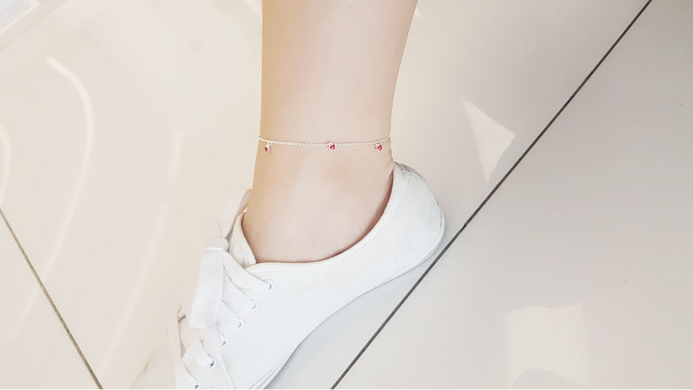 [92.5 Silver] Petit Red Heart Anklet-holiholic.com