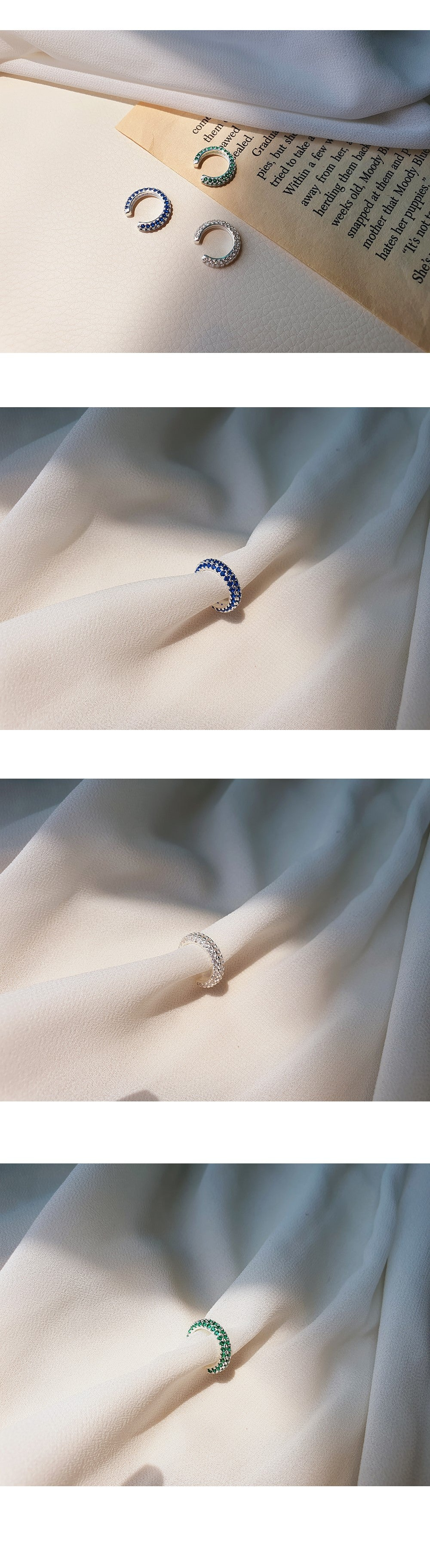 [92.5 Silver] Color Cubic Point Ear Cuff-Holiholic