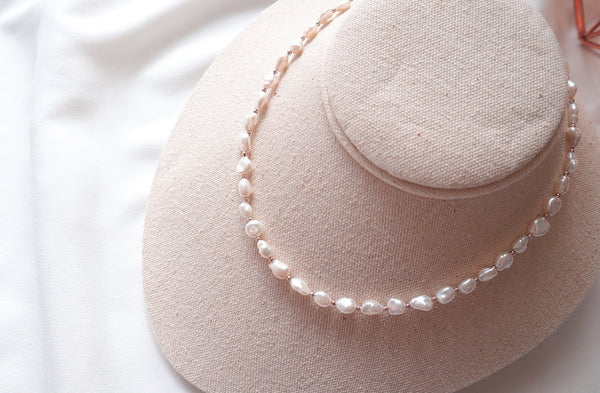 [92.5 Silver] Fresh Water Pearl Necklace-holiholic.com