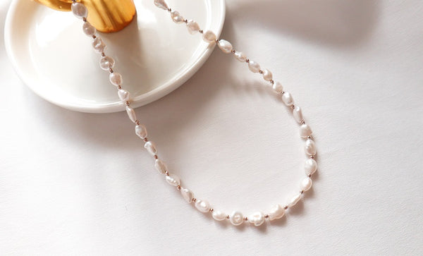 [92.5 Silver] Fresh Water Pearl Necklace