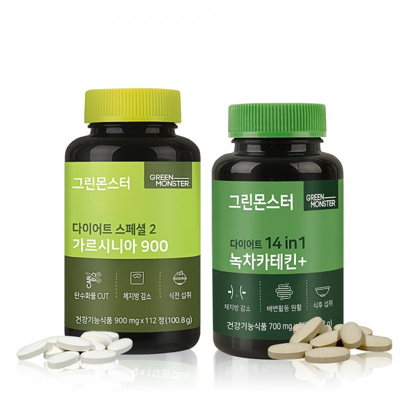 [GREEN MONSTER] Diet Special 2 Garcinia 112 Tablets + Diet 14 in 1 Green Tea Catechin+ 56 Tablets
