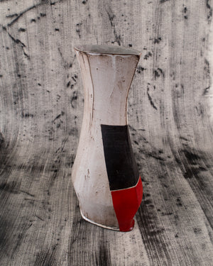 Diamond Vase with Red and Black DetailsWhite