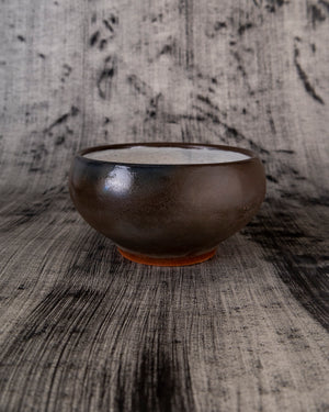 Black Soup Bowl with White, Black, and Red Details