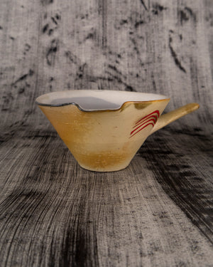 Bowl with Spout and Handle and Red Arcs