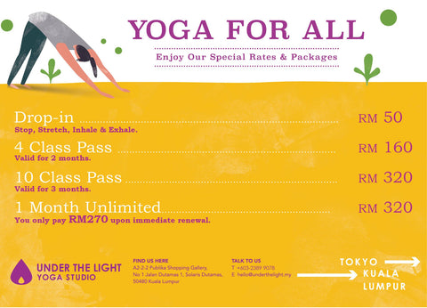 UNDER THE LIGHT YOGA STUDIO Kuala Lumpur Price package