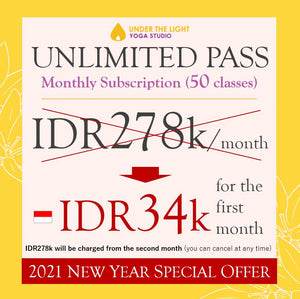 "For Indonesian customer : MONTHLY UNLIMITED PASS (first month 88% off with discount code ""welcome88"")"