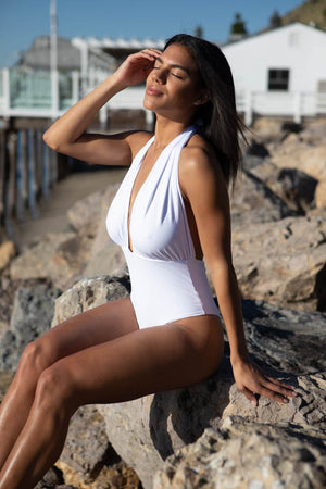 Sustainable Monokini in White , seaside pier beach location malibu beach