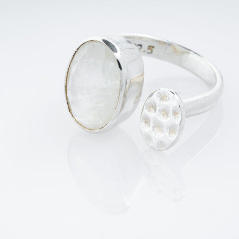 Lotus Pod Ring with Rainbow Moonstone
