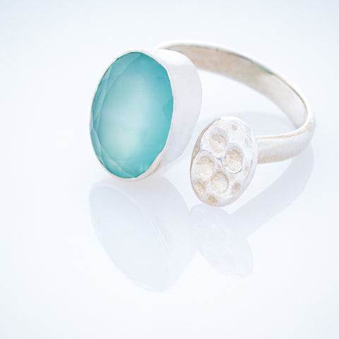 Lotus Pod Ring with Aqua Chalcedony