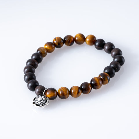 Tiger Eye + Wood Bracelet