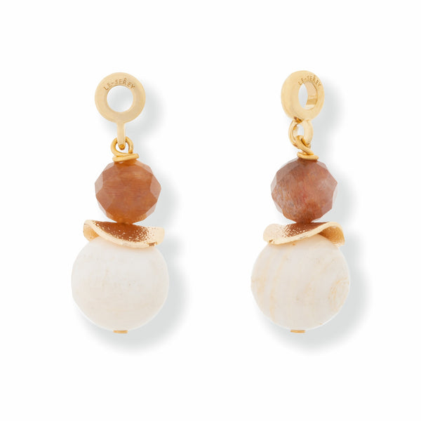 Gold Shell, Bead + Sunstone Charm - SATU