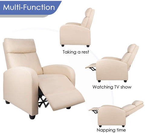FurniBox Recliner Chair Padded Seat Leather for Living Room Single Sofa