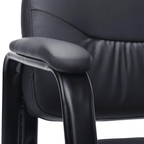 Officelux Leather Executive Side Desk Chair No Wheels with Sled Base