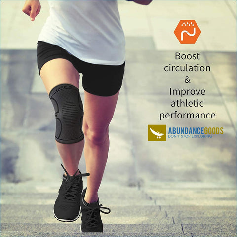 CAMBIVO 2 Pack Knee Brace Compression Sleeve Support Running Sports