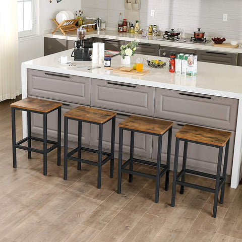 HOMEology Wood Counter Bar Stool Kitchen Chairs with Footrest Set of 2
