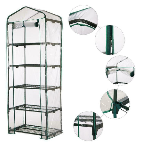 GreenThrive Mini Greenhouse Outdoor Grow Bags 5 Tier PVC Cover Plant