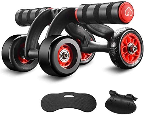 Gymverse AB Roller 4 Wheel Abdominal Workout with Brake and Knee Pad