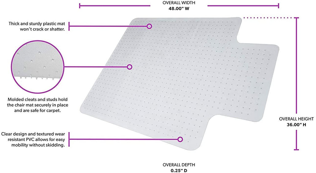 "Officelux Chair Mat with Lip for Floor Carpet 48"" x 36"" 2.2mm Thick"