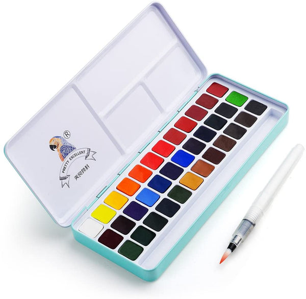 ProDraw - Watercolor Paint Set, 36 Vivid Colors in Pocket Box & Brush