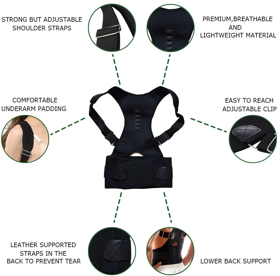 PostureZone Magnetic Therapy Posture Corrector Brace Back Support Belt