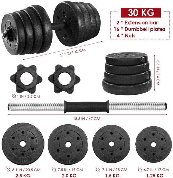 Gymverse Adjustable Dumbbells Set 66LB Durable Solid Weights Non Slip