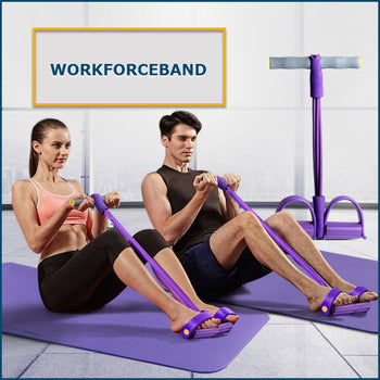 WORKFORCEBAND™ Pedal Resistance Bands - Gum 4 Tube Elastic Pull Rope - Exercise Equipment