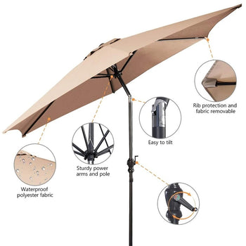 HOMEology 9 Ft Patio Umbrella Outdoor Beach Garden Parasol with Crank