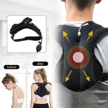 PostureZone Inflatable Posture Corrector Upper Back Brace Clavicle Support