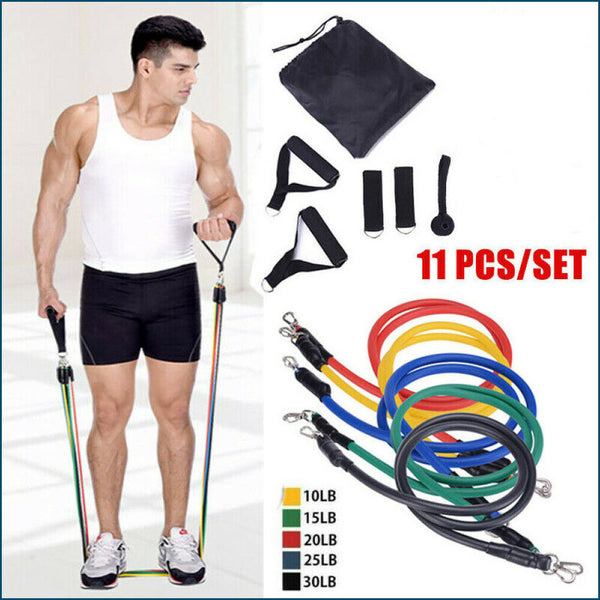 BACKFY - Fitness Resistance Bands 11Pcs Set Exercise Workout CrossFit