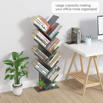 Officelux Black Bookshelf 9 Tier Tree Magazine Racks Wooden Bookcase