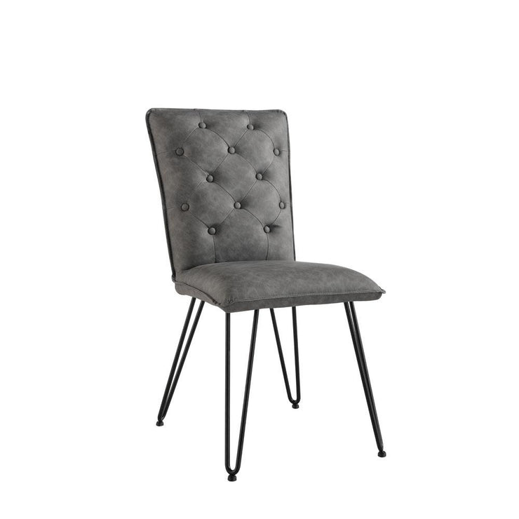 Studded Back Chair with Hairpin Legs - Grey